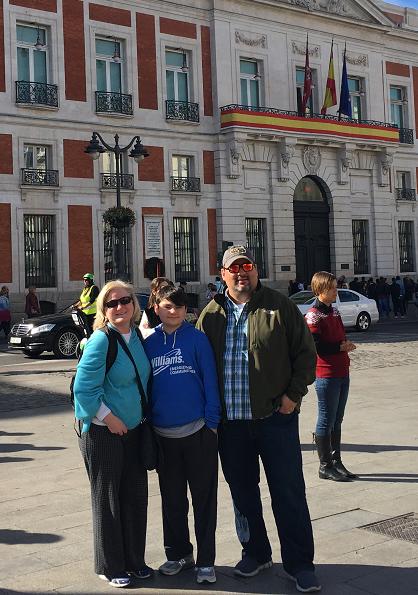 Sara Delgado and her family on Spring Break in Madrid, Spain at the Puerta del Sol.
