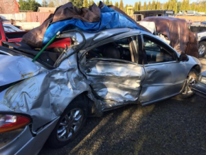 car after accident - heavily damaged